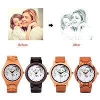 UV Printing Design Customize Customers Photos Add On Wood Watches Wooden Bamboo Watch Customization Print OEM