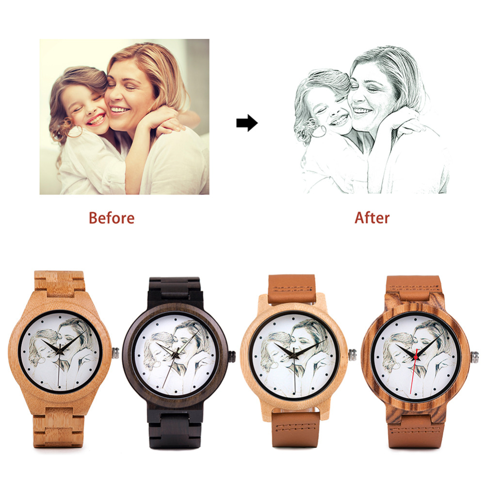 UV Printing Design Customize Customers Photos Add On Wood Watches Wooden Bamboo Watch Customization Print OEM