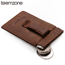 teemzone Men Crazy Genuine Leather Wallet Business Casual Credit Card ID Holder Money Clip Vintage Coin Wallet Trend K318