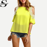 Sheinside Lace Applique Tunic Blouse Open Shoulder Tops 2017 Yellow Sexy Women Patchwork Summer Tops Cut