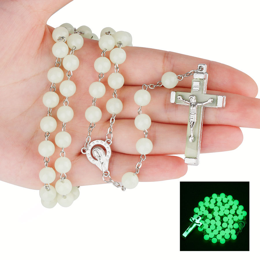 8MM luminous Christian Catholic Cross Rosary Necklace Glowing Light in Dark Beaded Rosary Necklaces for Men Women Christians