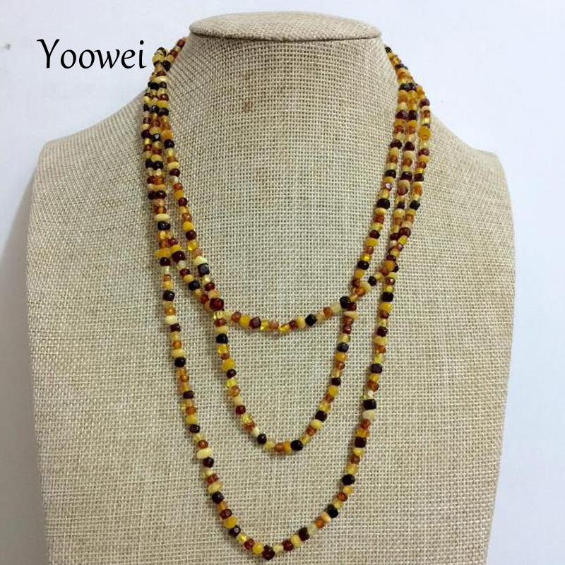 Yoowei 45cm--160cm Natural Amber Necklace for Women Baltic Genuine Irregular Long Chain Necklace Precious Stone Amber Jewelry yoowei 4mm natural amber bracelet for women small beads no knots multilayered sweater chain necklace genuine long amber jewelry