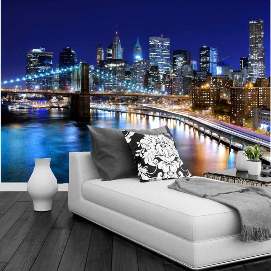 3d Wallpaper New York City Beautiful Night Building And Bridge Under The Colorful Light Living Room Tv Wall Bedroom Large Murals Wallpaper Love Wallpaper Animewallpaper Murals Animals Aliexpress