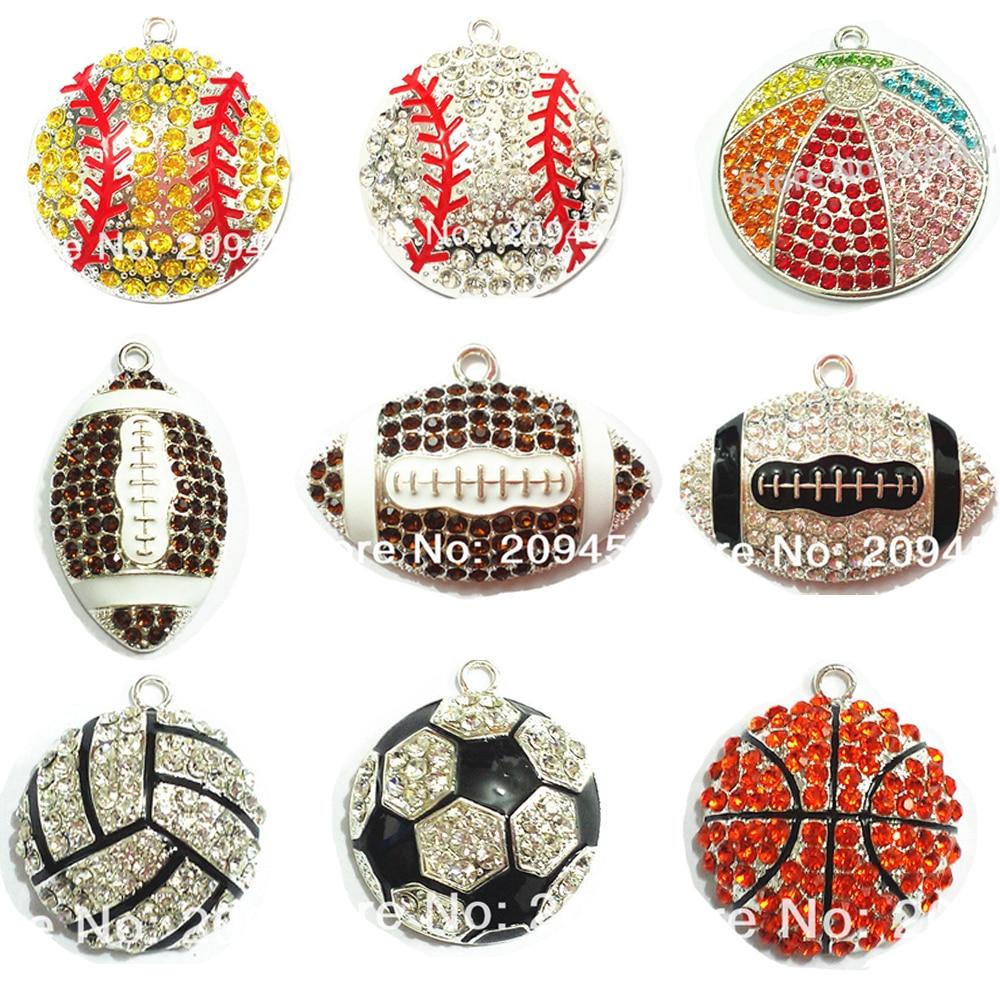 (Choose Design First) 10pcs/bag Sport Ball Series 1 Rhinestone Football,Basketball,Volleyball,Baseball,Rugby Tennis Pendants