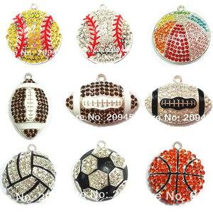 Image 1 - (Выберите дизайн в первую очередь) 10 шт./пакет спортивный мяч серии 1 Стразы Футбол, Баскетбол, волейбол, бейсбол, регби