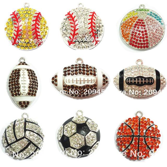 (Выберите дизайн в первую очередь) 10 шт./пакет спортивный мяч серии 1 Стразы Футбол, Баскетбол, волейбол, бейсбол, регби