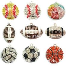 (Elija el diseño primero) 10 unids/bolsa Sport Ball Series 1 Rhinestone fútbol, baloncesto, voleibol, béisbol, Rugby tenis colgantes