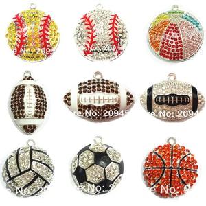 Image 1 - (Scegliere il Disegno in Primo Luogo) 10 pz/borsa Sport Palla Serie 1 Rhinestone di gioco del Calcio, Basket, Pallavolo, Berretto Da Baseball, rugby Tennis Pendenti con gemme e perle