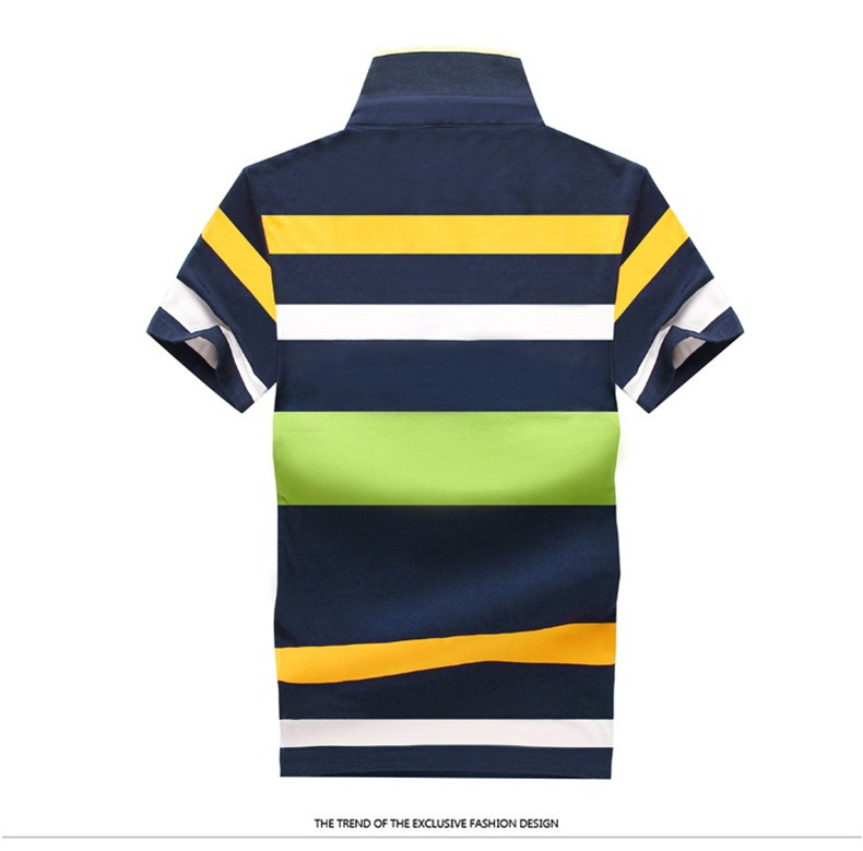92% Cotton camisa Men Polo Shirt  2015 Casual Striped Slim short sleeves ASIAN SIZE M-4XL 12