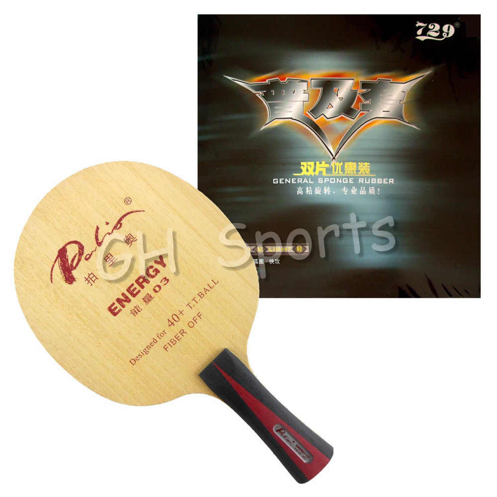 Pro Table Tennis (PingPong) Combo Racket: Palio ENERGY 03 Blade with 2x RITC729 General Rubbers  Long Shakehand FL