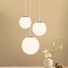 Creative Dining Room Pendant Lamp Bedside Simple Round Glass Ball Loft Style E27 Light Kids Led Fixtures