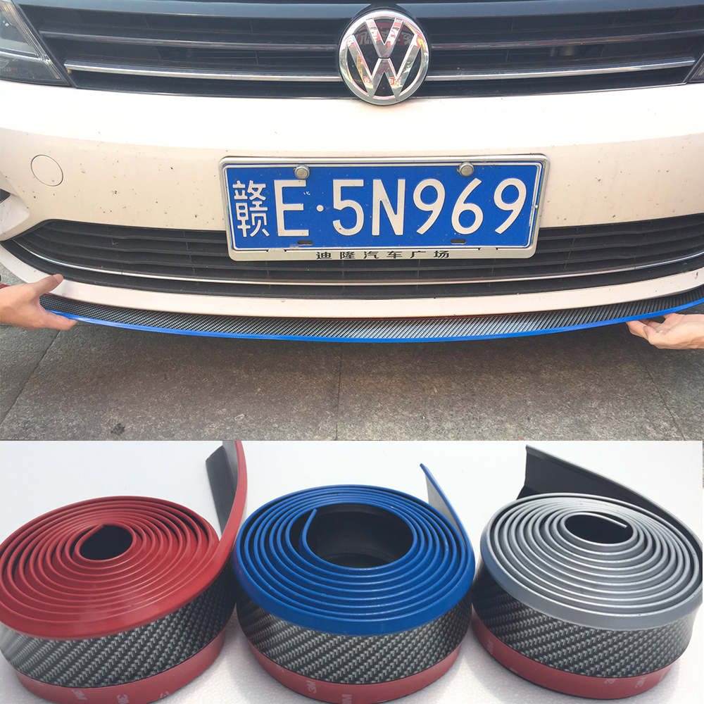 4PCS Universal PU Carbon Fiber Red Blue Silver Yellow Front lip Chin Strip Body Kit Trim 2.5 Meters for Audi BMW Volkswagen Benz 4pcs set wrc bumper strip carbon fiber