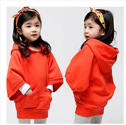 2015 retail children's clothing cartoon  fleece outerwear girls fashion clothing / hooded jacket / winter coat