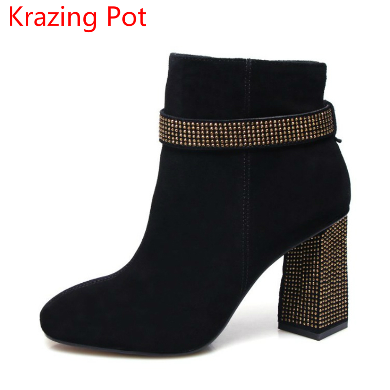 Superstar Cow Suede Bling Winter Shoes Solid Zipper Thick High Heels Plus Size Fashion Runway Handmade Casual Ankle Boots L12 2018 fashion winter shoes cow suede high heels solid pointed toe zipper handmade warm european style sweet women ankle boots l26