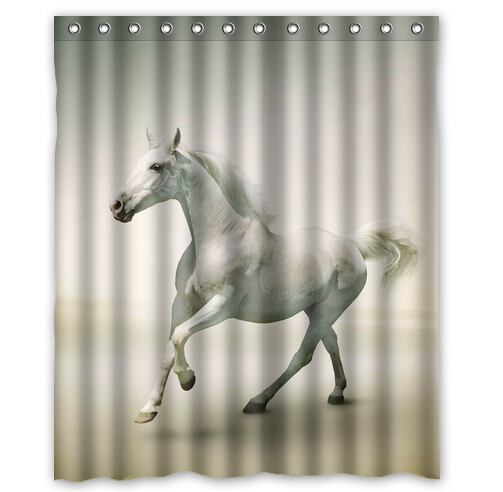Custom Beautiful Horse Printed 100 Polyester Shower Curtain 60 Inch By 72 Amerian Style