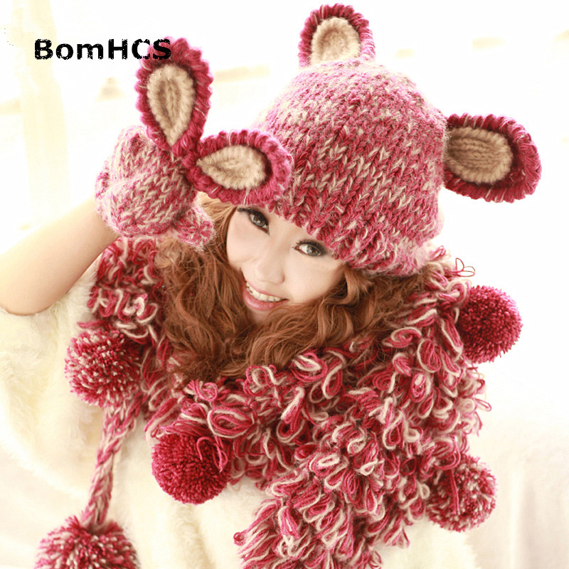 BomHCS Cute Rabbit Ears Winter Warm Women's Beanie & Gloves 100% Handmade Knit Hat Mittens (without Scarf) cute bear paw plush gloves winter warm thermal children knitted gloves full finger mittens cartoon gloves