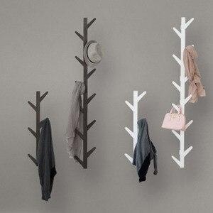 Image 2 - Styl skandynawski wieszak na kurtki nowy 6 haczyków półki ścienne bambusowy drewniany wieszak salon dekoracja sypialni wieszak