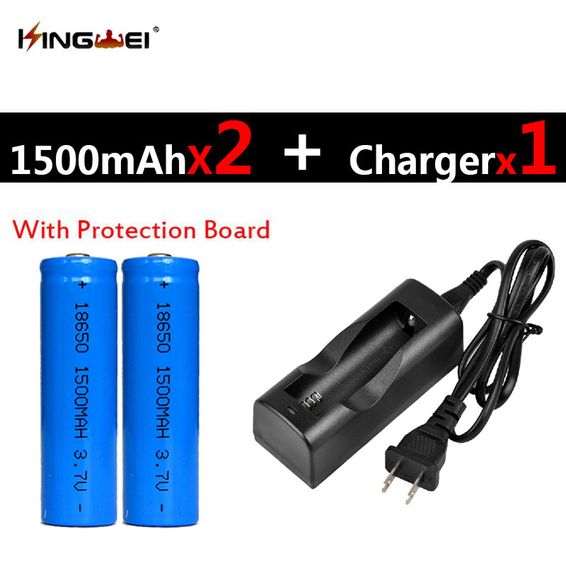 2017 Protected 2Pcs 18650 Batteries 3 7v 1500mah Rechargeable Lithium Li ion Battery 1pc NK 803C