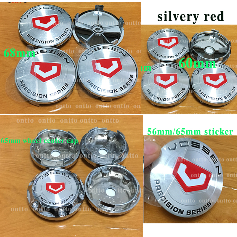 4pcs car Styling silver red 68mm Wheel Center cap 56mm 65mm logo sticker For vossen 60mm wheel Hub Caps Wheel Emblem badge cover