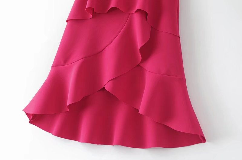 HTB1 GzCQFXXXXbTaXXXq6xXFXXXI - FREE SHIPPING women summer ruffles skirt rose red irregular skirt JKP270