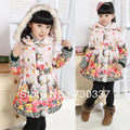 Free shipping winter girl cotton-padded clothes long flowers thick clothes belt single-breasted hooded cotton-padded clothing