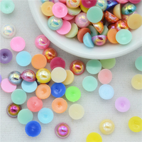 2000pcs/lot 2 14mm AB Color Mix Simulated Half Round Imitation Pearls Flat Back Beads DIY