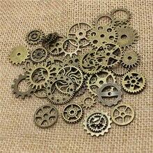 Al por mayor de la mezcla 50 Uds Vintage dijes de steampunk engranaje colgante bronce antiguo collares y pulseras que ajustan T0485