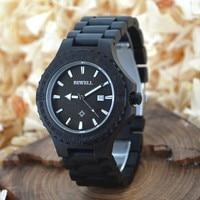 BEWELL Top Brand Luxury Male Wooden Date Quartz Wrist Watch Gear Shape Bezel Gift Retail Box Luminous Relogio Masculino 023A