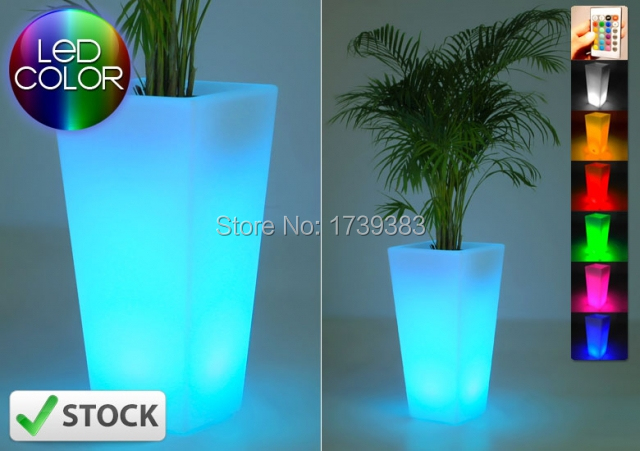 где купить Waterproof Outdoor H50cm 16colors Rumba square flower Y pot light Bulb wireless,LED glow Ice Bucket,Led flower Plant Vase LIGHT по лучшей цене