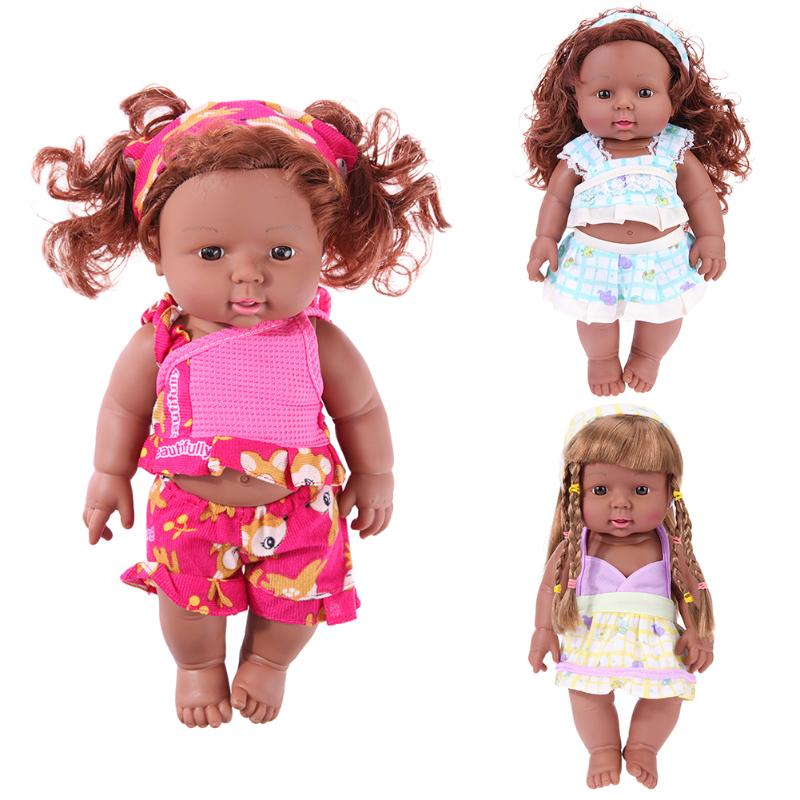 30cm Reborn Baby Simulation Doll African Baby Girls Doll Toy PVC Lifelike Baby Sleeping Doll Childhood Kids Xmas Birthday Gift