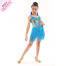 Belly dance Children Dress Girls Latin Dresses Fringe Ballroom Sequins 8-14 Years
