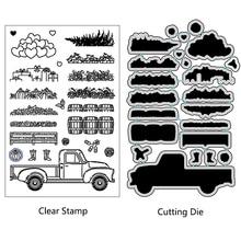 AZSG Rural Garden Stuff Truck Cutting Dies Clear Stamps For DIY Scrapbooking/Card Making/Album Decorative Silicone Stamp Crafts