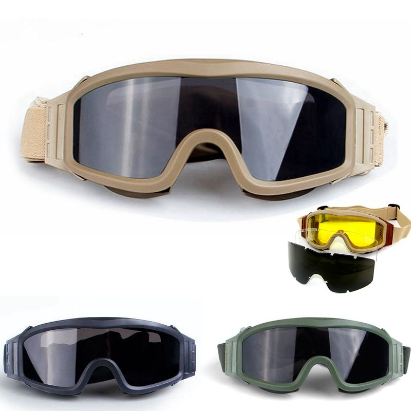 Military Army Shooting Hunting Combat Safety Googles Glasses Tactical Airsoft Paintball Googles Outdoor Sports Mens Glasses