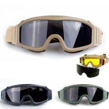 цены на Military Army Shooting Hunting Combat Safety Googles Glasses Tactical Airsoft Paintball Googles Outdoor Sports Mens Glasses  в интернет-магазинах
