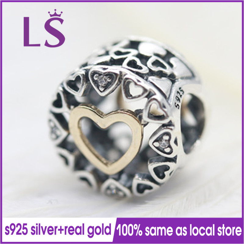 LS 100% S925 Silver 1.4.k Real G.old Loving Circle Charm Beads Fit Original Bracelets Pulseira Encantos.100% Same.Fine Jewlery N