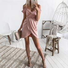 Summer Women Off shoulder V-Neck Sexy Sleeveless Dress Backless Striped Irregular Ruffle Short Mini Dresses burgundy ruffle design off shoulder mini dress