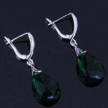 Very Good Water Drop Green Cubic Zirconia 925 Sterling Silver Dangle Earrings For Women V0349