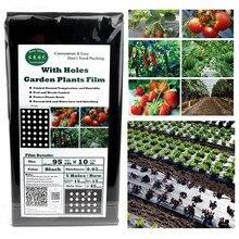 10 м* 95 см 5 отверстий домашний сад пленка сельскохозяйственные овощи черная пленка растения пластиковая перфорированная пластиковая мульчирующая мембрана