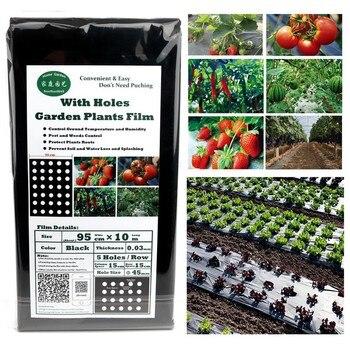 95 см * 10 м 5 отверстий 0,03 мм овощ с грядки черная пленка сельскохозяйственные растения пленка пластиковая перфорированная мульчирующая плен...