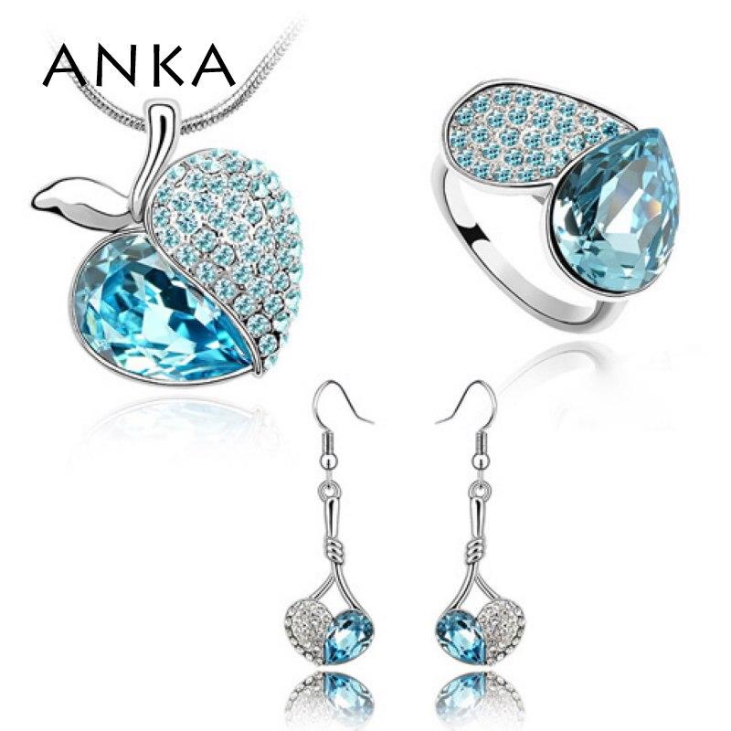 ANKA Limited родиевое покрытие Мода Большой для Apple Сияющий роскошный Австрия Кристалл украшения набор кристаллов из Австрия#83766