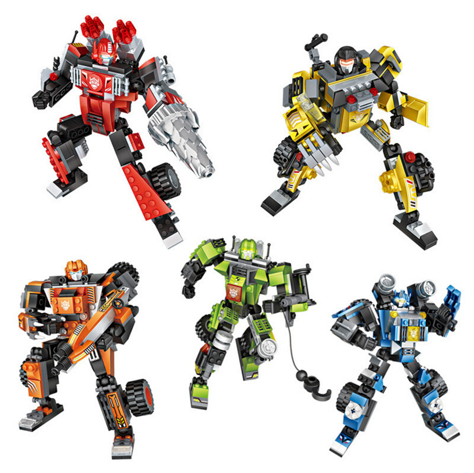 Cool Super Transformation 3in1 Robot Mini Block Dinosaur Wolf