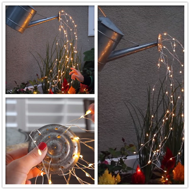 led copper wire vine lights string solar power waterfall light christmas branch light for garden outdoor