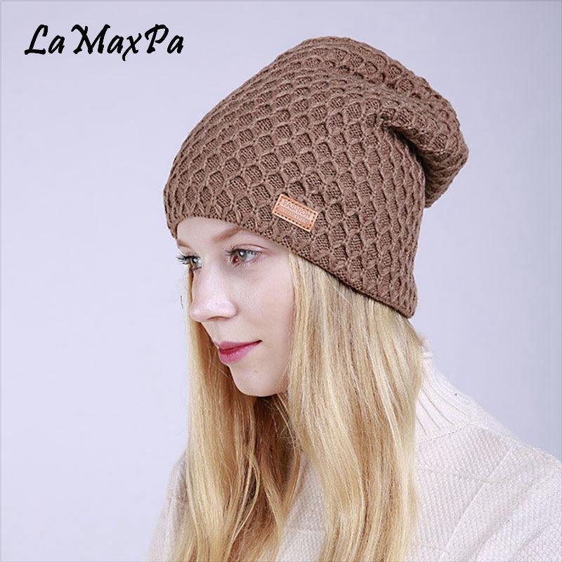 Frauen neue Strickmütze Skullies Frühling warme Acryl Mützen Cap - Bekleidungszubehör