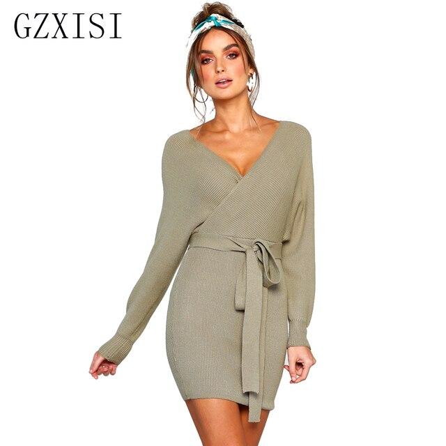 cd90b097a64c casual winter dress women black mini dress sashes short femme long sleeve  knitted sweater dress ladies vestidos verano 2018