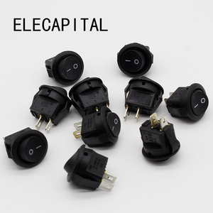Image 1 - 5* Small Round Black 2 Pin 2 Files 3A/250V 6A/125V Rocker Switch Seesaw Power Switch