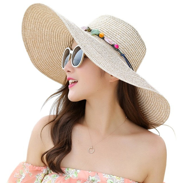 fb772dd7 Women Floppy Sun Hat Wide Brim Foldable Summer Beach Straw Cap With Shell  Chain Fashion New