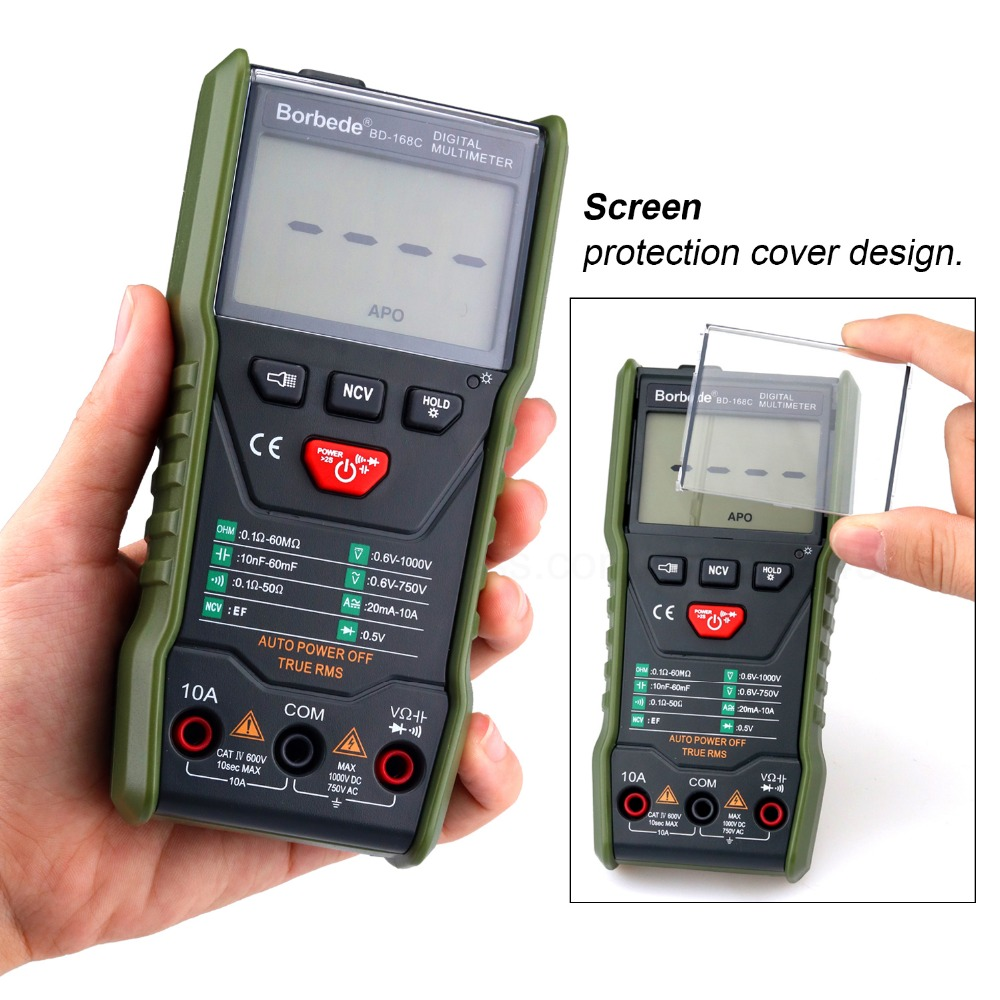 Tools : Borbede 168C Auto-scanning Digital Multimeter DC AC Capacitance Resistance Tester 6000 count Portable Smart