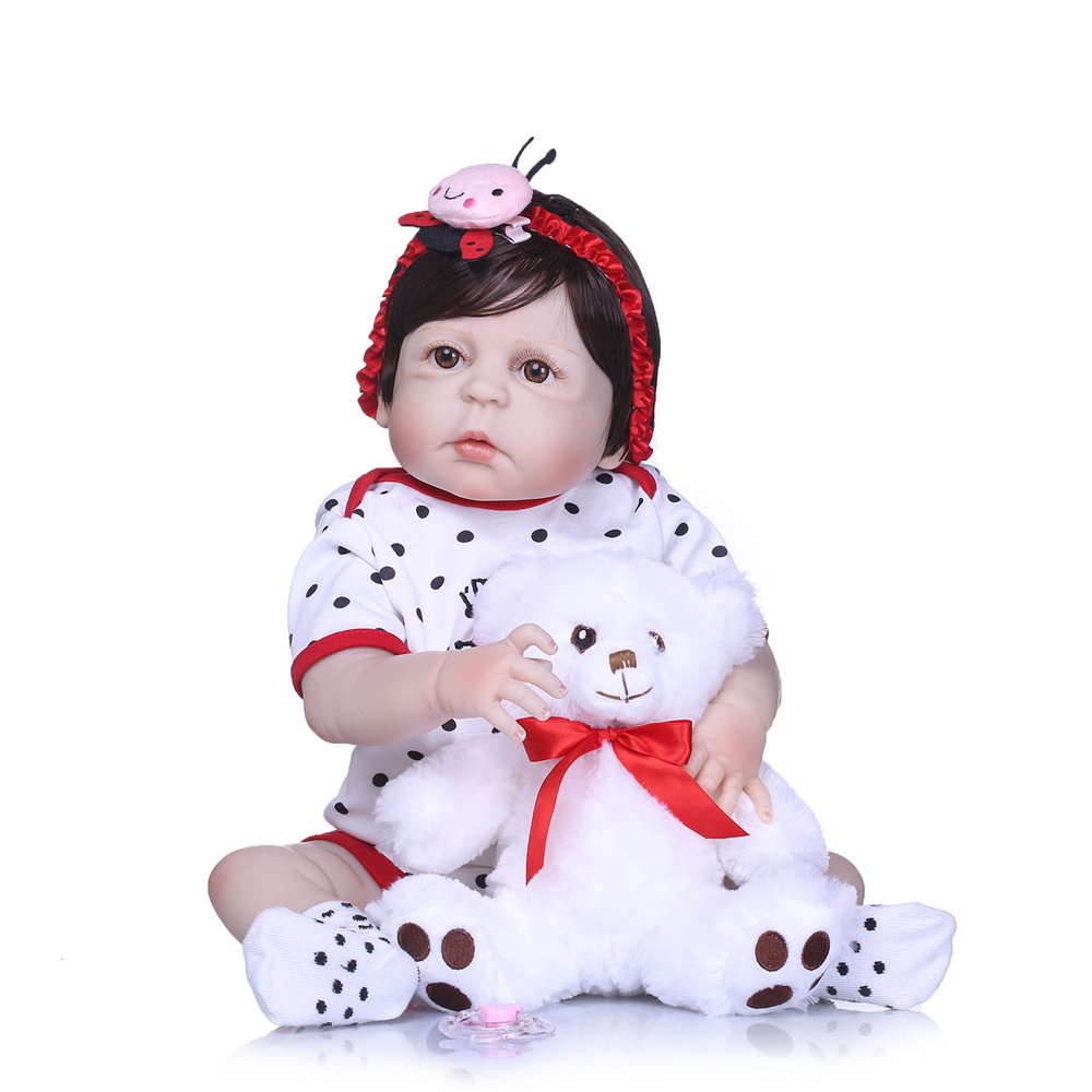55cm Baby Sleeping Dolls Silicone Reborn Doll Girl Shower Toys Early Education Dolls Cute Princess Birthday Gift Kid's Toys 100% Original