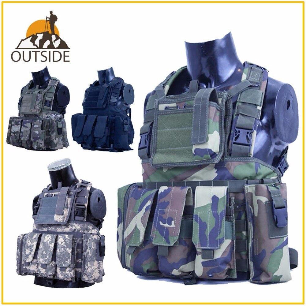 RRV Gilet Tactique Molle Airsoft Combat Vest W/Magazine Pouch Libérable Armor Plate Carrier Grève Gilets Vêtements de Chasse Vitesse