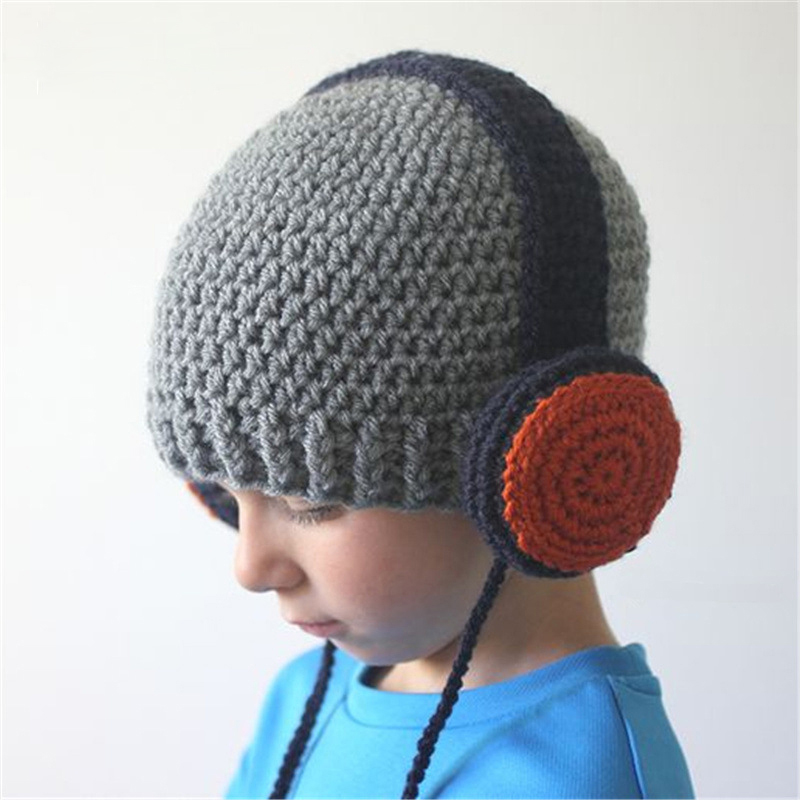 CN-RUBR Children Headset Style Hand-Woven Hats Baby Boy Girls Warm Knitting Wool Cap Winter Hat for Children Christmas's Gift gift children knitting wool hat red flower beanie cap autumn and winter hat with earflaps cn post